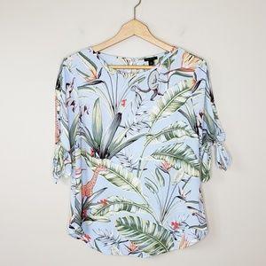 Ann Taylor | Monkey Jungle Print Tie Sleeve Blouse